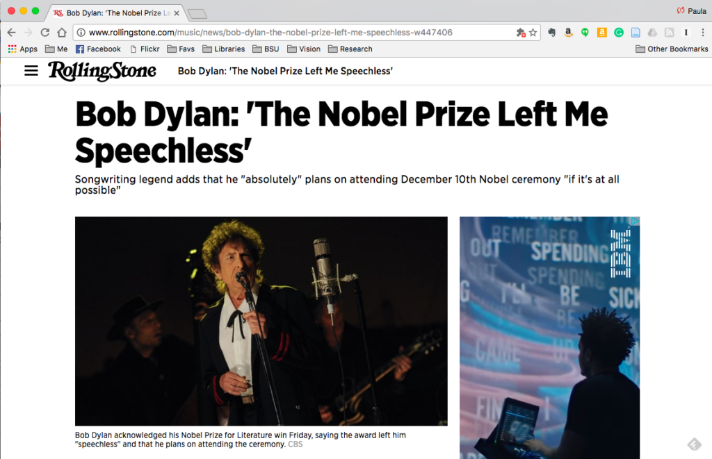 "Rolling Stone headline: Bob Dylan: ""The Nobel Prize Left Me Speechless"""